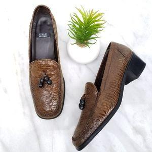 STUART WEITZMAN Loafer Beads Tassel Embossed Heels